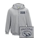 NEW Sport-Zip-Hoodie Kids - unisex (Size 116-152) 80/20 in navy and heather grey