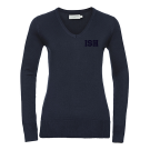 Ladies V-Neck Knitted Pullover (navy)